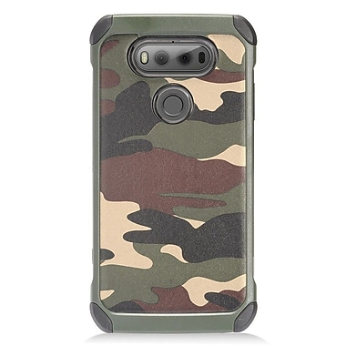 Insten Dual Layer Hybrid PC/TPU Rubber Case Cover for LG V20 - Green Camouflage/Black