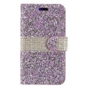 Insten Folio Leather Diamante w/card holder Case For Alcatel Stellar / Tru - Purple/Silver
