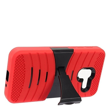 Insten Wave Symbiosis Armor Hybrid Hard Stand Protective Case Back Cover For Alcatel Stellar / Tru - Red/Black