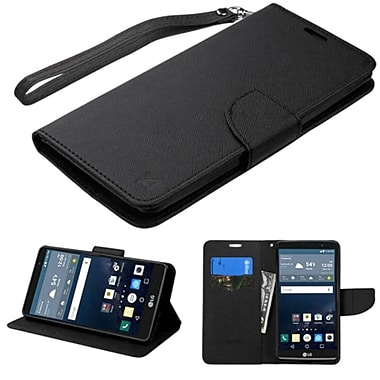 Insten Flip Leather Fabric Cover Case Lanyard w/stand/card holder For LG G Stylo - Black
