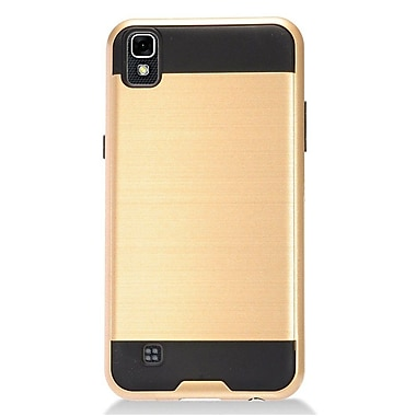 Insten Hybrid CS3 Brushed Metal Hard Dual Layer Shockproof Case Cover For LG X Power - Gold/Black