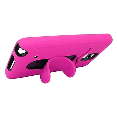 Insten Soft Hybrid Rubber Hard Case with card slot For Samsung Galaxy Note 4 - Hot Pink/Black