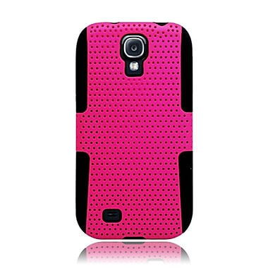 Insten TPU Rubber Hard PC Candy Skin Mesh Case Cover For Samsung Galaxy S4 - Hot Pink/Black