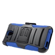 Insten Stand Dual Layer Hybrid Case with Holster For HTC Desire 520 - Black/Blue