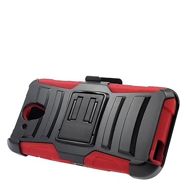 Insten Hard Hybrid Plastic Silicone Stand Case with Holster For HTC Desire 520 - Black/Red