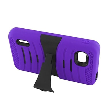 Insten Wave Symbiosis Silicone Rubber Hard Cover Case w/stand For LG Optimus F3 LS720 - Purple/Black
