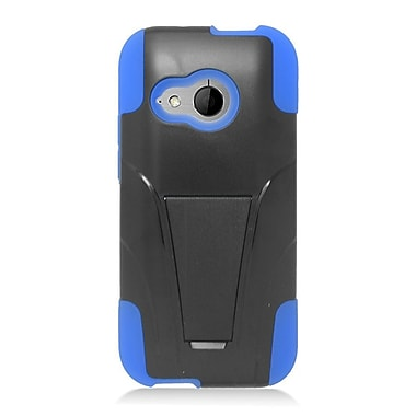 Insten Hard Dual Layer Plastic Silicone Case w/stand For HTC One M8 Mini - Black/Blue