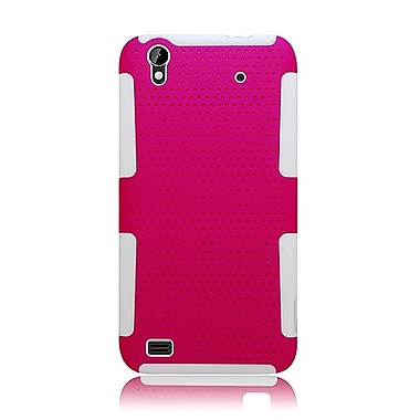 Insten TPU Rubber Hard PC Candy Skin Mesh Case Cover For ZTE Quartz - Hot Pink/White