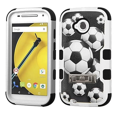 Insten Tuff Soccer Ball Collage Hard Dual Layer Rubber Coated Case w/stand For Motorola Moto E (2nd Gen) - Black/White