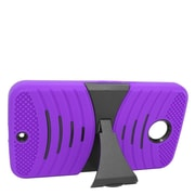 Insten Wave Symbiosis Soft Hybrid Rubber Hard Stand Case For Motorola Google Nexus 6 - Purple/Black