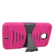 Insten Hybrid Rubber Hard Stand Case For Motorola Google Nexus 6 - Hot Pink/Black