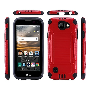 Insten Hard Dual Layer Rubberized Silicone Cover Case For LG K3 - Red/Black