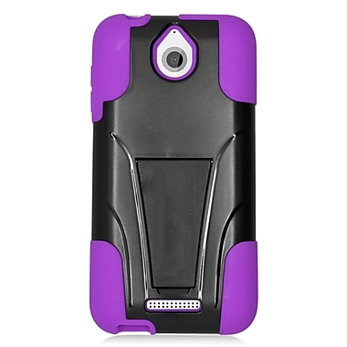 Insten Hard Dual Layer Plastic Silicone Case w/stand For HTC Desire 510 - Black/Purple