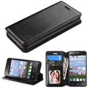 Insten Flip Leather Fabric Case w/stand/card holder/Photo Display For ZTE Zephyr - Black