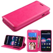 Insten Book-Style Leather Fabric Case For ZTE Obsidian - Hot Pink (with Stand & Card holder & Photo Display)