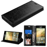 Insten Book-Style Leather Fabric Cover Case w/card slot/Photo Display For ZTE Warp Elite - Black