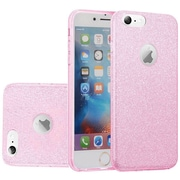 Insten Hybrid Clear PC TPU Protective Case Cover with Glitter Paper For Apple iPhone 6 / 6s - Light Pink