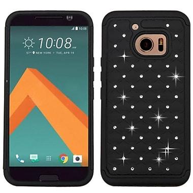 Insten Hard Dual Layer Rubberized Silicone Case w/Diamond For HTC One M10 - Black