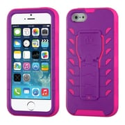 Insten Tuff Teadz Hard Hybrid Plastic Silicone Cover Case w/stand For Apple iPhone SE / 5 / 5S - Purple/Hot Pink