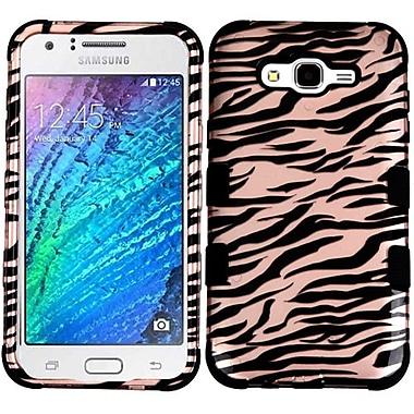 Insten Tuff Zebra Hard Hybrid Silicone Cover Case For Samsung Galaxy J7 (2015) - Rose Gold/Black