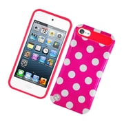 Insten Two-Tone/NightGlow Polka Dots Jelly Hybrid Hard Silicone Case Cover For Apple iPod Touch 5th Gen - Hot Pink
