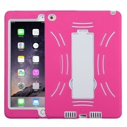 Insten Symbiosis Silicone Dual Layer Rubber Hard Case w/stand For Apple iPad Air 2 - Hot Pink/White