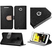 Insten Flip Leather Glitter Case w/stand/card slot/Diamond For Motorola Moto E (2nd Gen) - Black/Gold