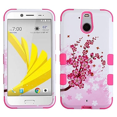 Insten Tuff Spring Flowers Hard Dual Layer Rubber Coated Silicone Case For HTC Bolt - Pink/White