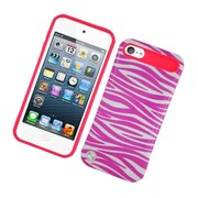 Insten Two-Tone/NightGlow Zebra Jelly Hybrid Hard Silicone Case Cover For Apple iPod Touch 5th Gen - Hot Pink/White
