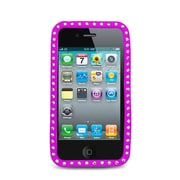 Insten Rubber Cover Case w/Diamond For Apple iPhone 4 - Hot Pink