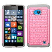 Insten Hard Hybrid Rugged Shockproof Rubber Coated Silicone Case w/Diamond For Microsoft Lumia 640 - Pink/Gray