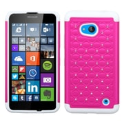 Insten Hard Hybrid Rugged Shockproof Silicone Cover Case w/Diamond For Microsoft Lumia 640 - Hot Pink/White