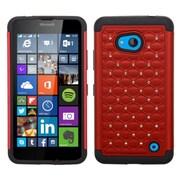 Insten Hard Dual Layer Silicone Case w/Diamond For Microsoft Lumia 640 - Red/Black