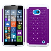Insten Hard Hybrid Shockproof Rubber Coated Silicone Case w/Diamond For Microsoft Lumia 640 - Purple/White