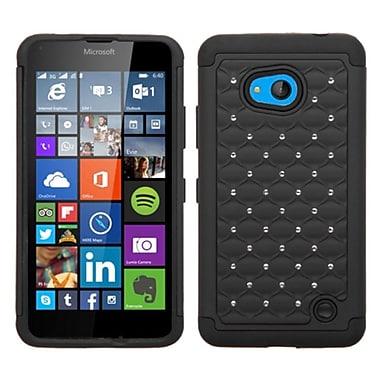 Insten Hard Dual Layer Rubber Silicone Cover Case w/Diamond For Microsoft Lumia 640 - Black
