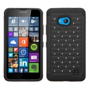 Insten Hard Dual Layer Rubber Silicone Cover Case w/Diamond For Microsoft Lumia 640 - Black