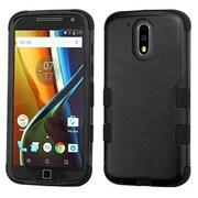 Insten Tuff Hard Dual Layer Silicone Case For Motorola Moto G4 PLUS - Black