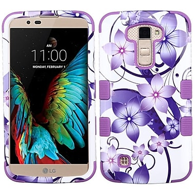 Insten Tuff Hibiscus Flower Romance Hard Dual Layer Rubber Coated Cover Case For LG K10 / Premier LTE - Purple/White