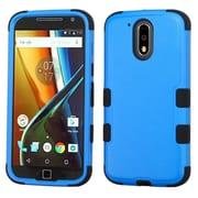 Insten Tuff Hard Hybrid Rubber Silicone Cover Case For Motorola Moto G4 PLUS - Blue/Black
