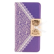 Insten Leather Wallet Cover Case with card slot For Samsung Galaxy S6 Edge - Purple/Gold
