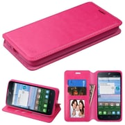 Insten Flip Leather Fabric Cover Case w/stand/card slot/Photo Display For Alcatel Stellar / Tru - Hot Pink