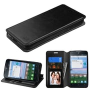 Insten Flip Leather Fabric Case w/stand/card holder/Photo Display For Alcatel Stellar / Tru - Black