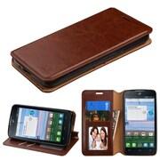 Insten Folio Leather Fabric Case w/stand/card holder/Photo Display For Alcatel Stellar / Tru - Brown