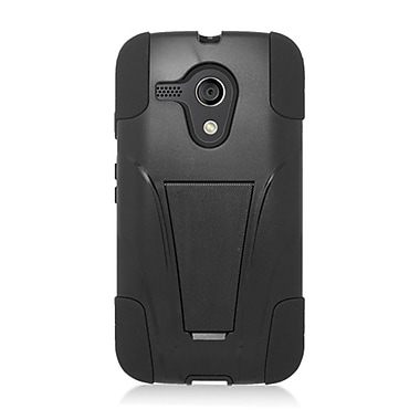 Insten Hard Dual Layer Plastic Silicone Case with stand for Motorola Moto G (1st Gen) - Black