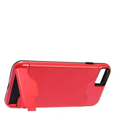 Insten Hybrid CS5 Brushed Metal Hard Dual Layer Shockproof Stand Case Cover For Apple iPhone 7 - Red/Black