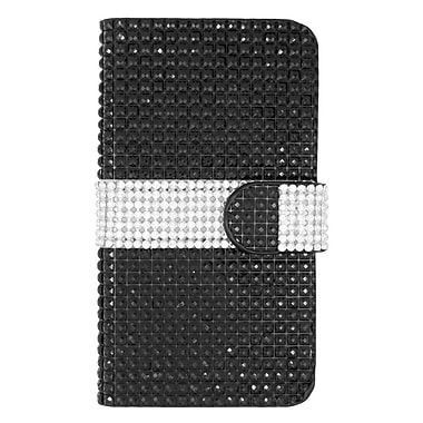 Insten Folio Wallet Leather Diamond Case with Card slot For LG Volt 2 - Black/Silver