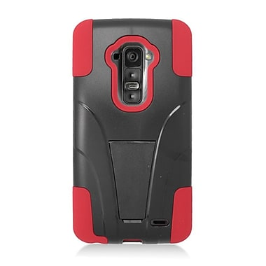 Insten Hard Dual Layer Plastic Silicone Case with stand for LG G Flex - Black/Red