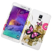 Insten Butterfly Hard Case For Samsung Galaxy Note 4 - White/Pink