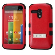 Insten Natural Red/Black TUFF Hybrid Rugged Hard Shockproof Phone Case with Stand For MOTOROLA Moto G