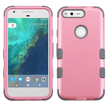 Insten Tuff Hard Hybrid Rubber Silicone Case For Google Pixel - Pink/Gray